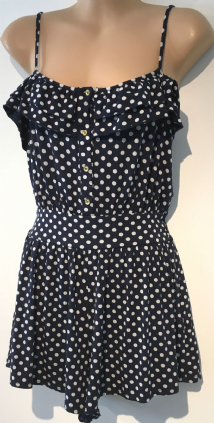 NEW LOOK NAVY SPOTTY BUTTON PLAYSUIT SIZE 12